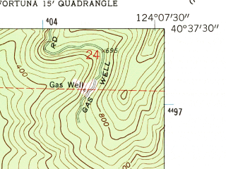 Reduced fragment of topographic map en--usgs--024k--016044--(1959)--N040-37-30_W124-15-00--N040-30-00_W124-07-30; towns and cities Fortuna