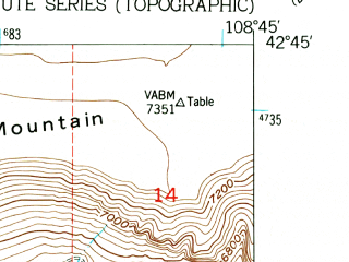 Reduced fragment of topographic map en--usgs--024k--016062--(1953)--N042-45-00_W108-52-30--N042-37-30_W108-45-00