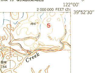 Reduced fragment of topographic map en--usgs--024k--016077--(1951)--N039-52-30_W122-07-30--N039-45-00_W122-00-00