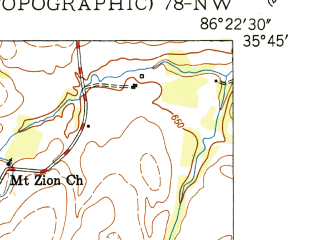 Reduced fragment of topographic map en--usgs--024k--016084--(1951)--N035-45-00_W086-30-00--N035-37-30_W086-22-30