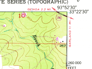 Reduced fragment of topographic map en--usgs--024k--016087--(1952)--N033-22-30_W094-00-00--N033-15-00_W093-52-30; towns and cities Fouke