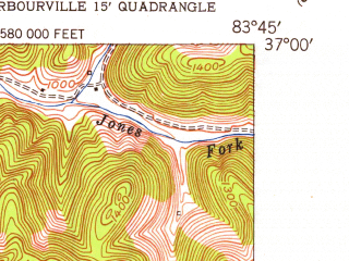 Reduced fragment of topographic map en--usgs--024k--016093--(1952)--N037-00-00_W083-52-30--N036-52-30_W083-45-00
