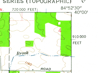 Reduced fragment of topographic map en--usgs--024k--016098--(1960)--N040-00-00_W085-00-00--N039-52-30_W084-52-30; towns and cities Fountain City