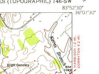 Reduced fragment of topographic map en--usgs--024k--016099--(1953)--N036-07-30_W084-00-00--N036-00-00_W083-52-30; towns and cities Halls