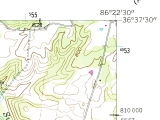 Reduced fragment of topographic map en--usgs--024k--016104--(1958)--N036-37-30_W086-30-00--N036-30-00_W086-22-30