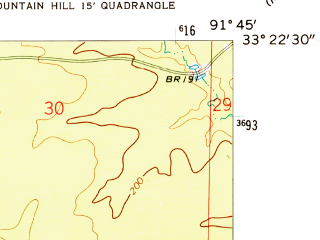 Reduced fragment of topographic map en--usgs--024k--016105--(1952)--N033-22-30_W091-52-30--N033-15-00_W091-45-00; towns and cities Fountain Hill