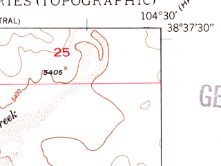 Reduced fragment of topographic map en--usgs--024k--016111--(1948)--N038-37-30_W104-37-30--N038-30-00_W104-30-00