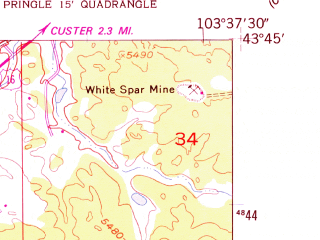 Reduced fragment of topographic map en--usgs--024k--016138--(1954)--N043-45-00_W103-45-00--N043-37-30_W103-37-30