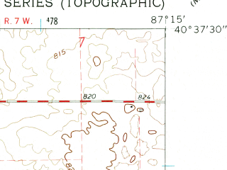 Reduced fragment of topographic map en--usgs--024k--016165--(1962)--N040-37-30_W087-22-30--N040-30-00_W087-15-00; towns and cities Fowler
