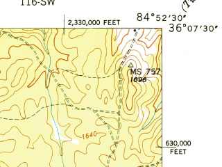 Reduced fragment of topographic map en--usgs--024k--016182--(1949)--N036-07-30_W085-00-00--N036-00-00_W084-52-30; towns and cities Fairfield Glade