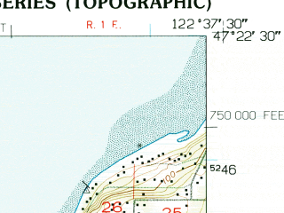 Reduced fragment of topographic map en--usgs--024k--016187--(1953)--N047-22-30_W122-45-00--N047-15-00_W122-37-30; towns and cities Artondale, Fox Island