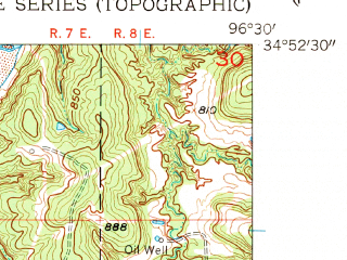 Reduced fragment of topographic map en--usgs--024k--016207--(1958)--N034-52-30_W096-37-30--N034-45-00_W096-30-00; towns and cities Francis