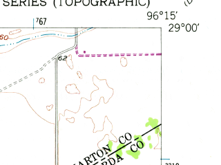 Reduced fragment of topographic map en--usgs--024k--016212--(1952)--N029-00-00_W096-22-30--N028-52-30_W096-15-00