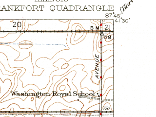 Reduced fragment of topographic map en--usgs--024k--016227--(1930)--N041-30-00_W087-52-30--N041-22-30_W087-45-00; towns and cities Frankfort, Monee