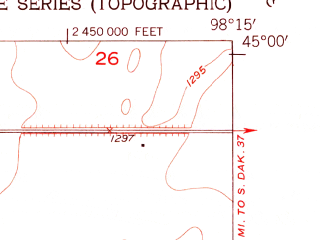 Reduced fragment of topographic map en--usgs--024k--016230--(1953)--N045-00-00_W098-22-30--N044-52-30_W098-15-00; towns and cities Frankfort