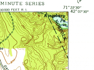 Reduced fragment of topographic map en--usgs--024k--016254--(1945)--N042-07-30_W071-30-00--N042-00-00_W071-22-30; towns and cities Franklin, Bellingham