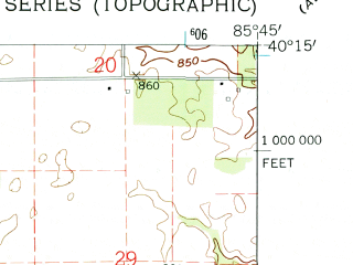 Reduced fragment of topographic map en--usgs--024k--016278--(1962)--N040-15-00_W085-52-30--N040-07-30_W085-45-00; towns and cities Frankton