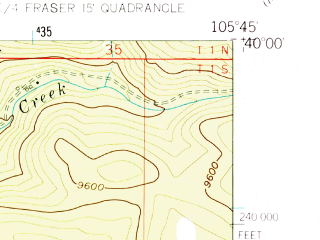 Reduced fragment of topographic map en--usgs--024k--016282--(1957)--N040-00-00_W105-52-30--N039-52-30_W105-45-00; towns and cities Winter Park, Fraser