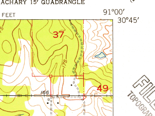 Reduced fragment of topographic map en--usgs--024k--016294--(1954)--N030-45-00_W091-07-30--N030-37-30_W091-00-00