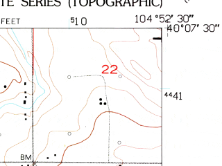 Reduced fragment of topographic map en--usgs--024k--016305--(1950)--N040-07-30_W105-00-00--N040-00-00_W104-52-30; towns and cities Dacono, Firestone, Frederick