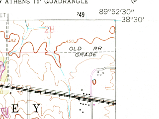 Reduced fragment of topographic map en--usgs--024k--016344--(1954)--N038-30-00_W090-00-00--N038-22-30_W089-52-30; towns and cities Freeburg, Smithton
