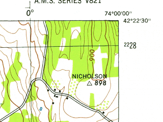 Reduced fragment of topographic map en--usgs--024k--016356--(1945)--N042-22-30_W074-07-30--N042-15-00_W074-00-00; towns and cities Cairo