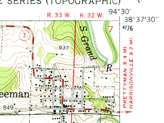 Reduced fragment of topographic map en--usgs--024k--016363--(1953)--N038-37-30_W094-37-30--N038-30-00_W094-30-00; towns and cities Freeman