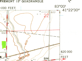Reduced fragment of topographic map en--usgs--024k--016400--(1958)--N041-22-30_W083-07-30--N041-15-00_W083-00-00; towns and cities Fremont, Green Springs
