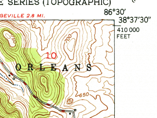 Reduced fragment of topographic map en--usgs--024k--016422--(1951)--N038-37-30_W086-37-30--N038-30-00_W086-30-00; towns and cities French Lick, West Baden Springs