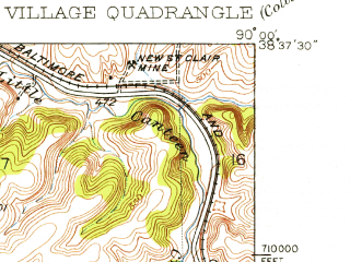 Reduced fragment of topographic map en--usgs--024k--016428--(1931)--N038-37-30_W090-07-30--N038-30-00_W090-00-00; towns and cities Belleville, Fairview Heights, Centreville, Alorton