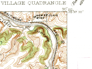 Reduced fragment of topographic map en--usgs--024k--016428--(1935)--N038-37-30_W090-07-30--N038-30-00_W090-00-00; towns and cities Belleville, Fairview Heights, Centreville, Alorton