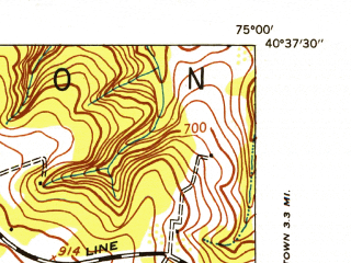 Reduced fragment of topographic map en--usgs--024k--016442--(1953)--N040-37-30_W075-07-30--N040-30-00_W075-00-00; towns and cities Frenchtown, Milford