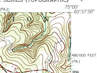 Reduced fragment of topographic map en--usgs--024k--016442--(1955)--N040-37-30_W075-07-30--N040-30-00_W075-00-00; towns and cities Frenchtown, Milford