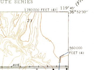 Reduced fragment of topographic map en--usgs--024k--016450--(1946)--N036-52-30_W119-52-30--N036-45-00_W119-45-00; towns and cities Fresno