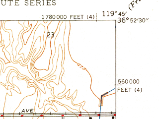 Reduced fragment of topographic map en--usgs--024k--016450--(1947)--N036-52-30_W119-52-30--N036-45-00_W119-45-00; towns and cities Fresno