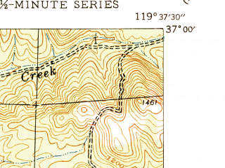 Reduced fragment of topographic map en--usgs--024k--016453--(1947)--N037-00-00_W119-45-00--N036-52-30_W119-37-30