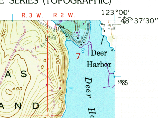 Reduced fragment of topographic map en--usgs--024k--016457--(1954)--N048-37-30_W123-07-30--N048-30-00_W123-00-00; towns and cities Friday Harbor