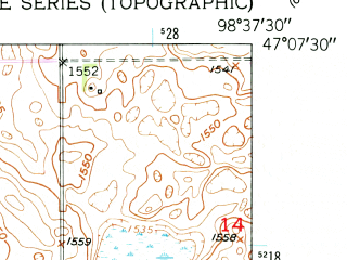 Reduced fragment of topographic map en--usgs--024k--016459--(1950)--N047-07-30_W098-45-00--N047-00-00_W098-37-30