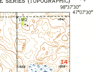 Reduced fragment of topographic map en--usgs--024k--016459--(1951)--N047-07-30_W098-45-00--N047-00-00_W098-37-30