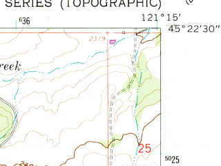 Reduced fragment of topographic map en--usgs--024k--016464--(1962)--N045-22-30_W121-22-30--N045-15-00_W121-15-00