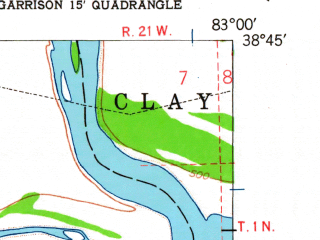 Reduced fragment of topographic map en--usgs--024k--016470--(1949)--N038-45-00_W083-07-30--N038-37-30_W083-00-00