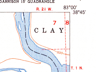 Reduced fragment of topographic map en--usgs--024k--016470--(1951)--N038-45-00_W083-07-30--N038-37-30_W083-00-00
