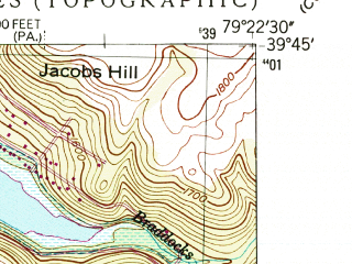 Reduced fragment of topographic map en--usgs--024k--016475--(1947)--N039-45-00_W079-30-00--N039-37-30_W079-22-30; towns and cities Friendsville, Markleysburg