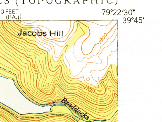 Reduced fragment of topographic map en--usgs--024k--016475--(1949)--N039-45-00_W079-30-00--N039-37-30_W079-22-30; towns and cities Friendsville, Markleysburg