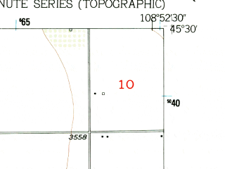 Reduced fragment of topographic map en--usgs--024k--016511--(1956)--N045-30-00_W109-00-00--N045-22-30_W108-52-30; towns and cities Fromberg, Joliet