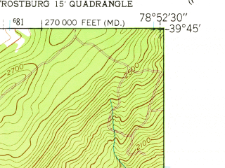Reduced fragment of topographic map en--usgs--024k--016521--(1949)--N039-45-00_W079-00-00--N039-37-30_W078-52-30; towns and cities Frostburg
