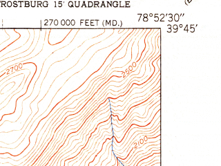 Reduced fragment of topographic map en--usgs--024k--016521--(1951)--N039-45-00_W079-00-00--N039-37-30_W078-52-30; towns and cities Frostburg