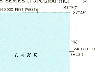 Reduced fragment of topographic map en--usgs--024k--016522--(1953)--N027-45-00_W081-37-30--N027-37-30_W081-30-00 in area of Lake Livingston; towns and cities Frostproof