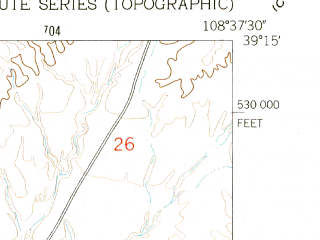 Reduced fragment of topographic map en--usgs--024k--016527--(1962)--N039-15-00_W108-45-00--N039-07-30_W108-37-30; towns and cities Fruita