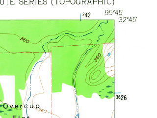 Reduced fragment of topographic map en--usgs--024k--016535--(1962)--N032-45-00_W095-52-30--N032-37-30_W095-45-00; towns and cities Fruitvale